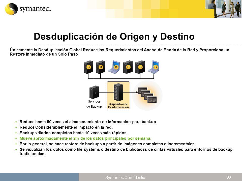 27 Symantec Confidential Desduplicación de Origen y Destino Únicamente la Desduplicación Global Reduce los Requerimientos del Ancho de Banda de la Red y Proporciona un Restore Inmediato de un Solo Paso Reduce hasta 50 veces el almacenamiento de información para backup.