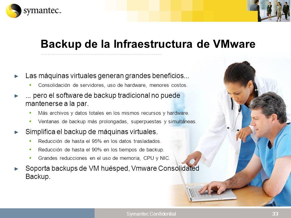 33 Symantec Confidential Backup de la Infraestructura de VMware Las máquinas virtuales generan grandes beneficios...