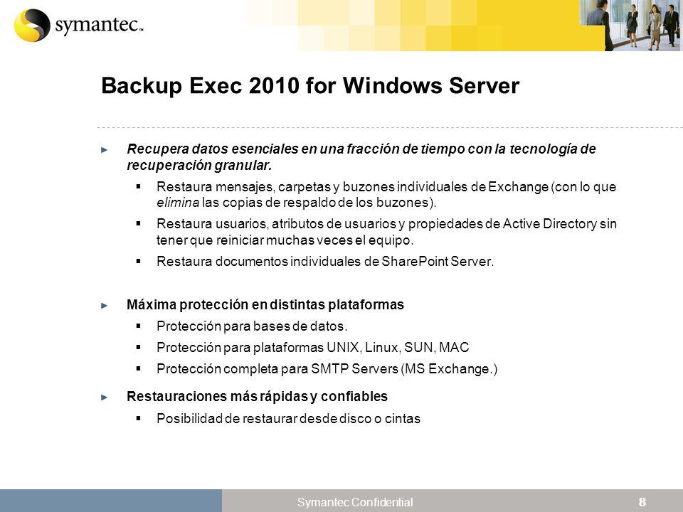 29 Symantec Confidential El Valor Único de Desduplicar Backup rápido y eficaz.