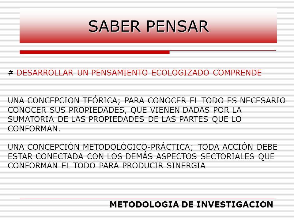 # DESARROLLAR UN PENSAMIENTO ECOLOGIZADO COMPRENDE UNA CONCEPCION TEÓRICA; PARA CONOCER EL TODO ES NECESARIO CONOCER SUS PROPIEDADES, QUE VIENEN DADAS