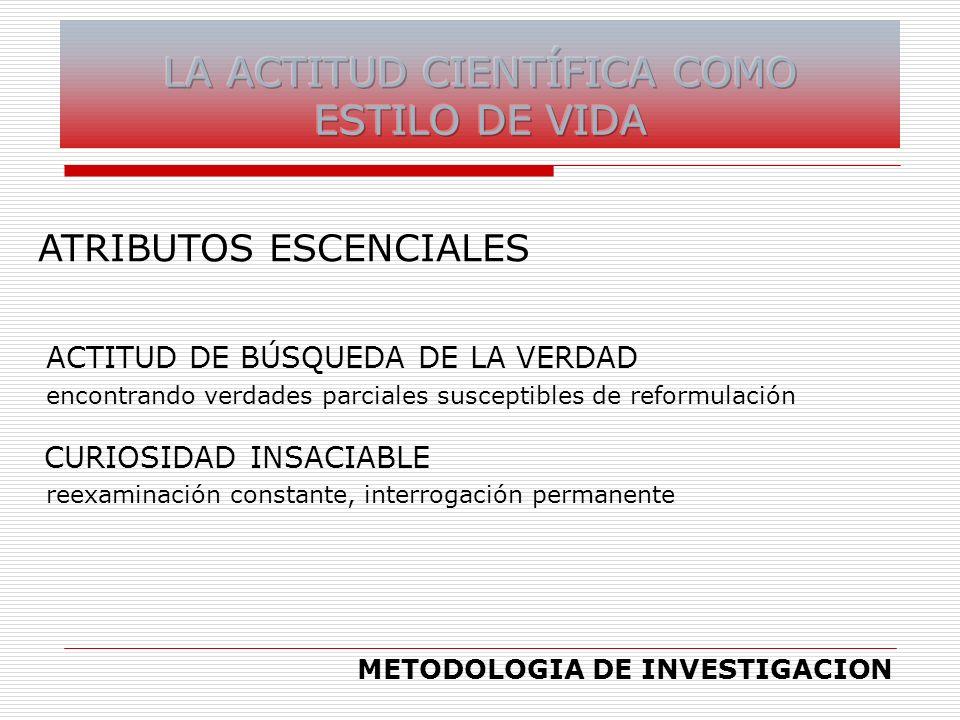ATRIBUTOS ESCENCIALES ACTITUD DE BÚSQUEDA DE LA VERDAD encontrando verdades parciales susceptibles de reformulación CURIOSIDAD INSACIABLE reexaminació