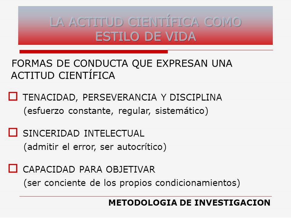 FORMAS DE CONDUCTA QUE EXPRESAN UNA ACTITUD CIENTÍFICA TENACIDAD, PERSEVERANCIA Y DISCIPLINA (esfuerzo constante, regular, sistemático) SINCERIDAD INT