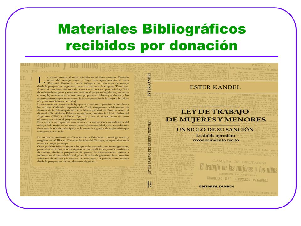 Materiales Bibliográficos recibidos por donación