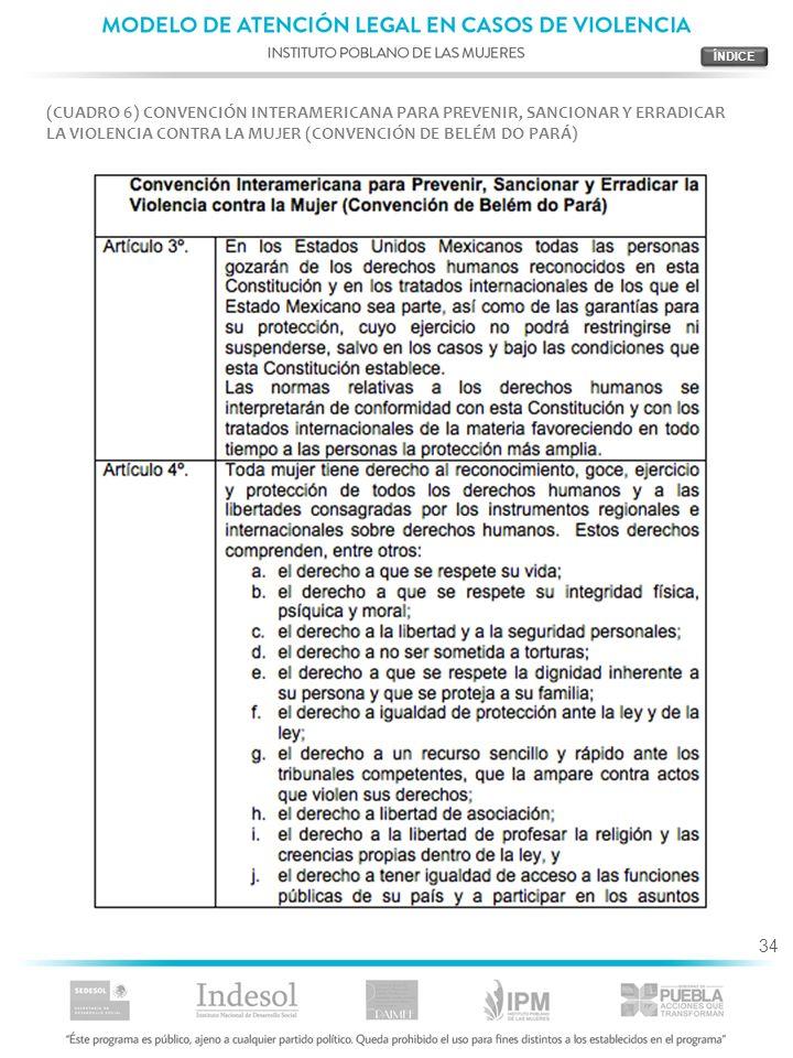 34 (CUADRO 6) CONVENCIÓN INTERAMERICANA PARA PREVENIR, SANCIONAR Y ERRADICAR LA VIOLENCIA CONTRA LA MUJER (CONVENCIÓN DE BELÉM DO PARÁ)