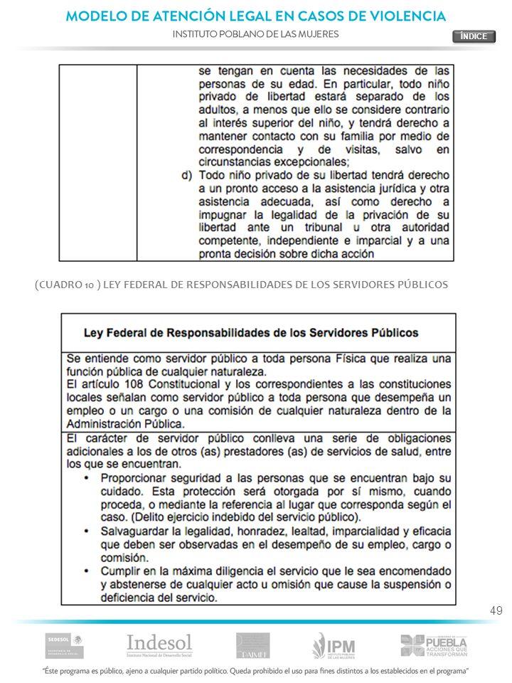 49 (CUADRO 10 ) LEY FEDERAL DE RESPONSABILIDADES DE LOS SERVIDORES PÚBLICOS
