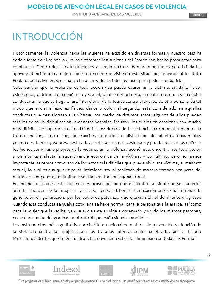 7 de Discriminación contra la Mujer (CEDAW) y la Convención Interamericana para Prevenir, Sancionar y Erradicar la Violencia contra la Mujer (Belém Do Pará), la cual establece que: Los Estados Partes convienen en adoptar, en forma progresiva, medidas específicas, inclusive programas para suministrar los servicios especializados apropiados para la atención necesaria a la mujer objeto de violencia, por medio de entidades de los sectores público y privado; como los refugios, servicios de orientación para toda la familia, cuando sea del caso, y cuidado y custodia de los menores afectados.