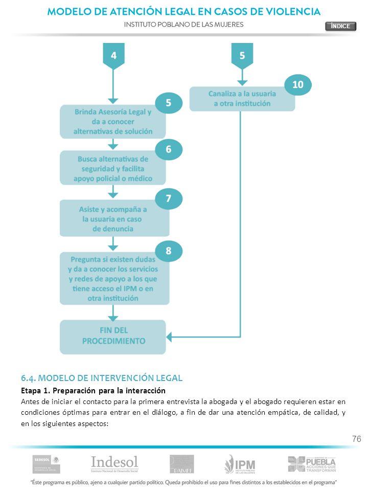 76 6.4. MODELO DE INTERVENCIÓN LEGAL Etapa 1. Preparación para la interacción Antes de iniciar el contacto para la primera entrevista la abogada y el