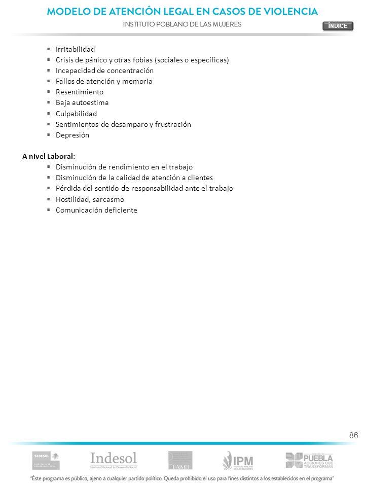86 Irritabilidad Crisis de pánico y otras fobias (sociales o específicas) Incapacidad de concentración Fallos de atención y memoria Resentimiento Baja