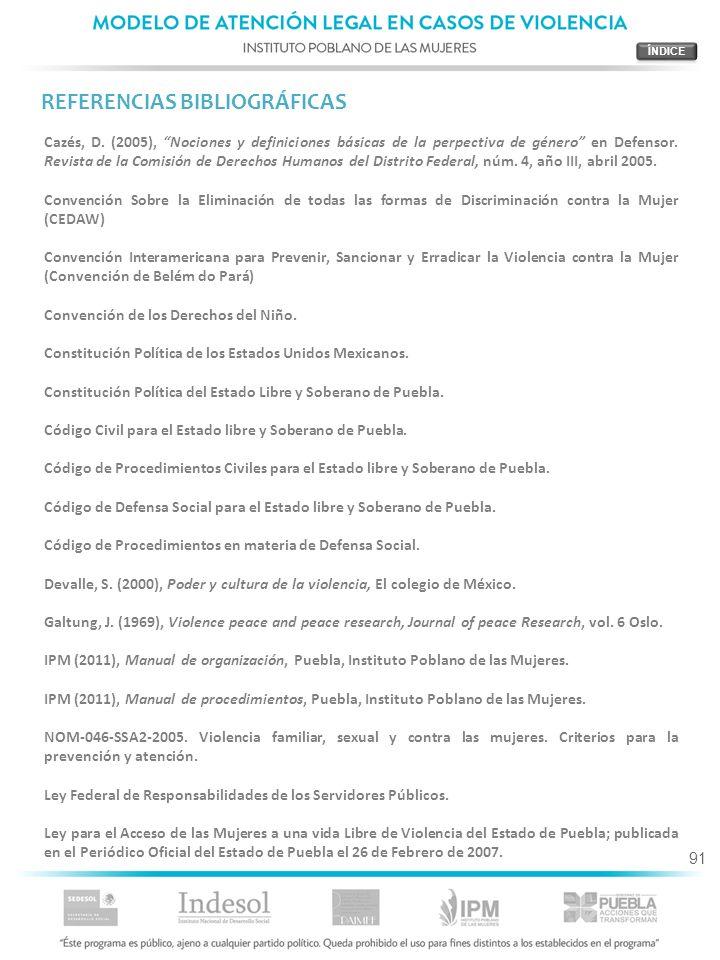 91 REFERENCIAS BIBLIOGRÁFICAS Cazés, D. (2005), Nociones y definiciones básicas de la perpectiva de género en Defensor. Revista de la Comisión de Dere