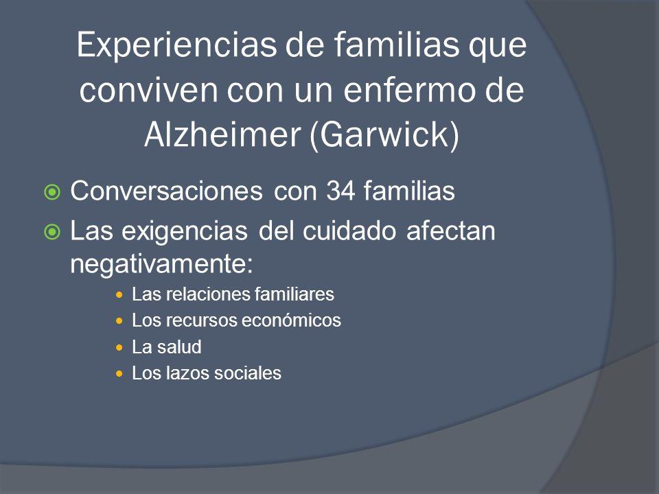 Experiencias de familias que conviven con un enfermo de Alzheimer (Garwick) Conversaciones con 34 familias Las exigencias del cuidado afectan negativamente: Las relaciones familiares Los recursos económicos La salud Los lazos sociales