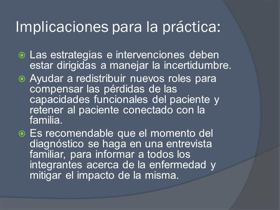 Implicaciones para la práctica: Las estrategias e intervenciones deben estar dirigidas a manejar la incertidumbre. Ayudar a redistribuir nuevos roles