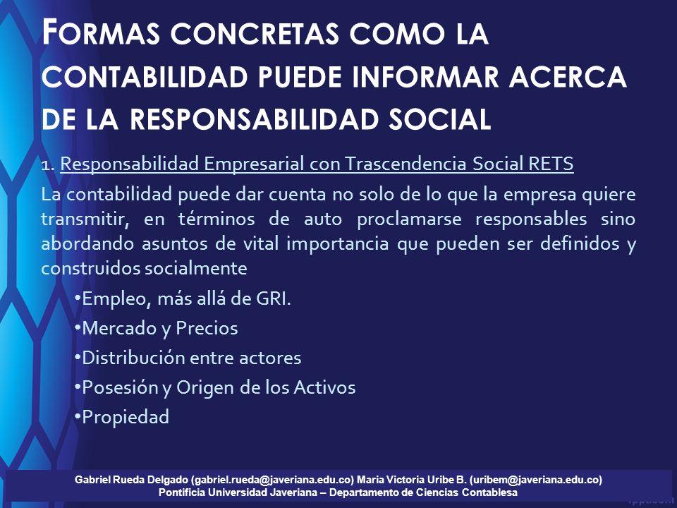 F ORMAS CONCRETAS COMO LA CONTABILIDAD PUEDE INFORMAR ACERCA DE LA RESPONSABILIDAD SOCIAL 1. Responsabilidad Empresarial con Trascendencia Social RETS