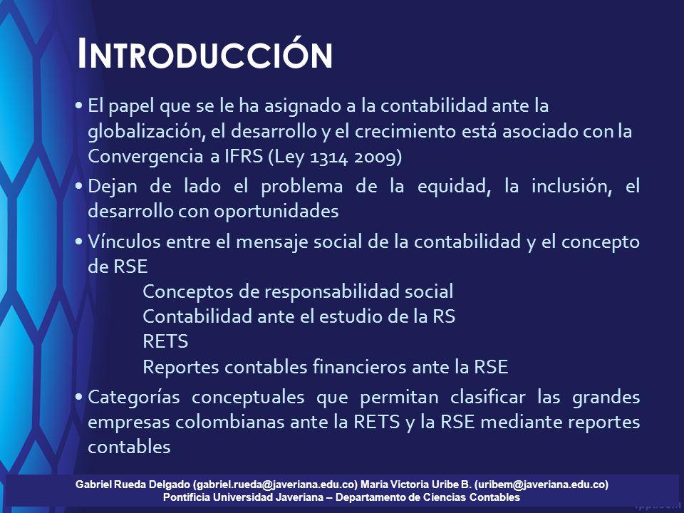 I NTRODUCCIÓN Gabriel Rueda Delgado (gabriel.rueda@javeriana.edu.co) Maria Victoria Uribe B. (uribem@javeriana.edu.co) Pontificia Universidad Javerian