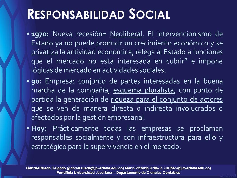 R ESPONSABILIDAD S OCIAL Gabriel Rueda Delgado (gabriel.rueda@javeriana.edu.co) Maria Victoria Uribe B.