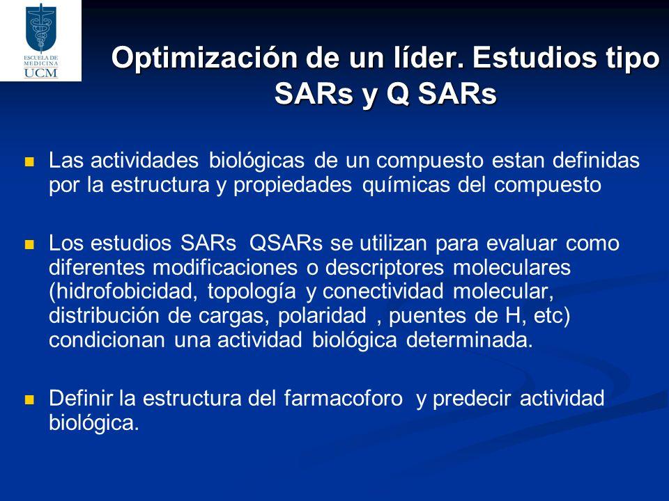 Optimización de un líder. Estudios tipo SARs y Q SARs Las actividades biológicas de un compuesto estan definidas por la estructura y propiedades quími