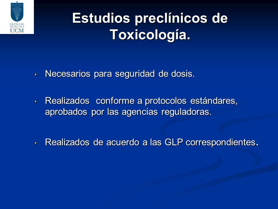 Estudios preclínicos de Toxicología. Necesarios para seguridad de dosis. Necesarios para seguridad de dosis. Realizados conforme a protocolos estándar