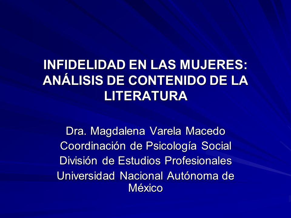 INFIDELIDAD EN LAS MUJERES: ANÁLISIS DE CONTENIDO DE LA LITERATURA Dra. Magdalena Varela Macedo Coordinación de Psicología Social División de Estudios