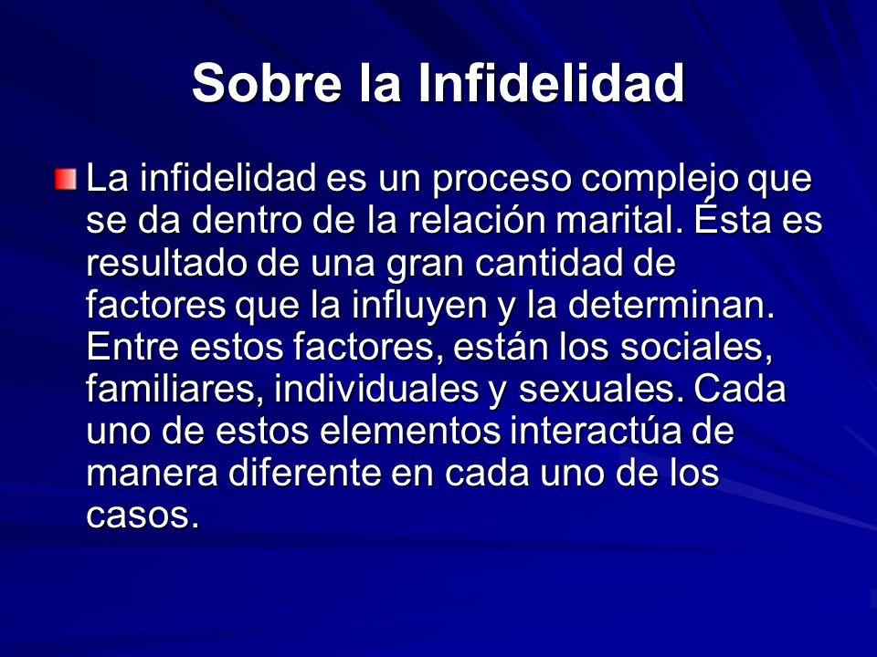 Sobre la Infidelidad La infidelidad es un proceso complejo que se da dentro de la relación marital. Ésta es resultado de una gran cantidad de factores