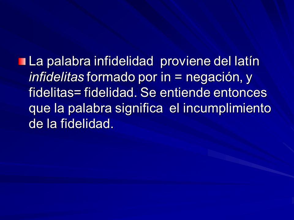 La palabra infidelidad proviene del latín infidelitas formado por in = negación, y fidelitas= fidelidad. Se entiende entonces que la palabra significa