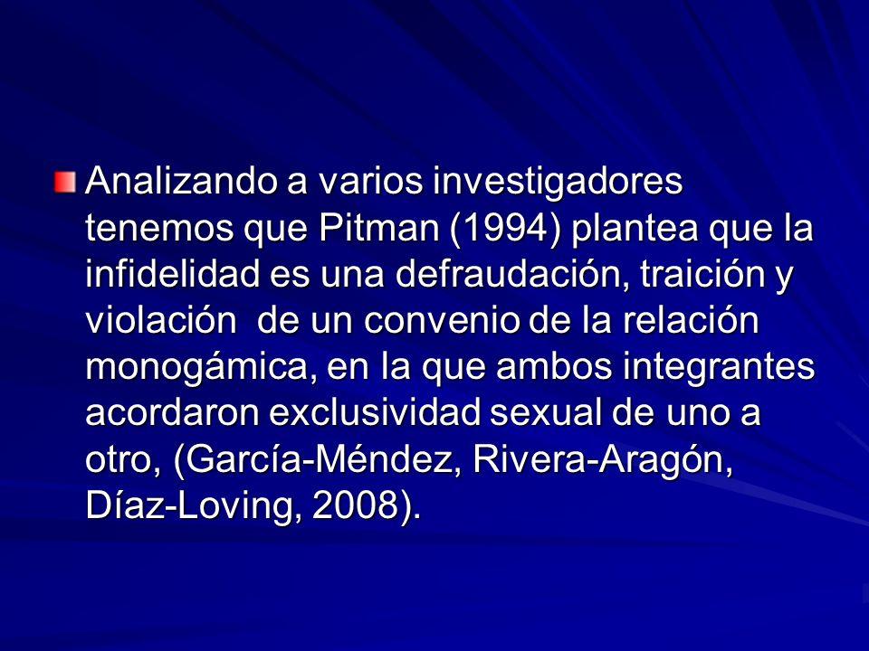 Analizando a varios investigadores tenemos que Pitman (1994) plantea que la infidelidad es una defraudación, traición y violación de un convenio de la