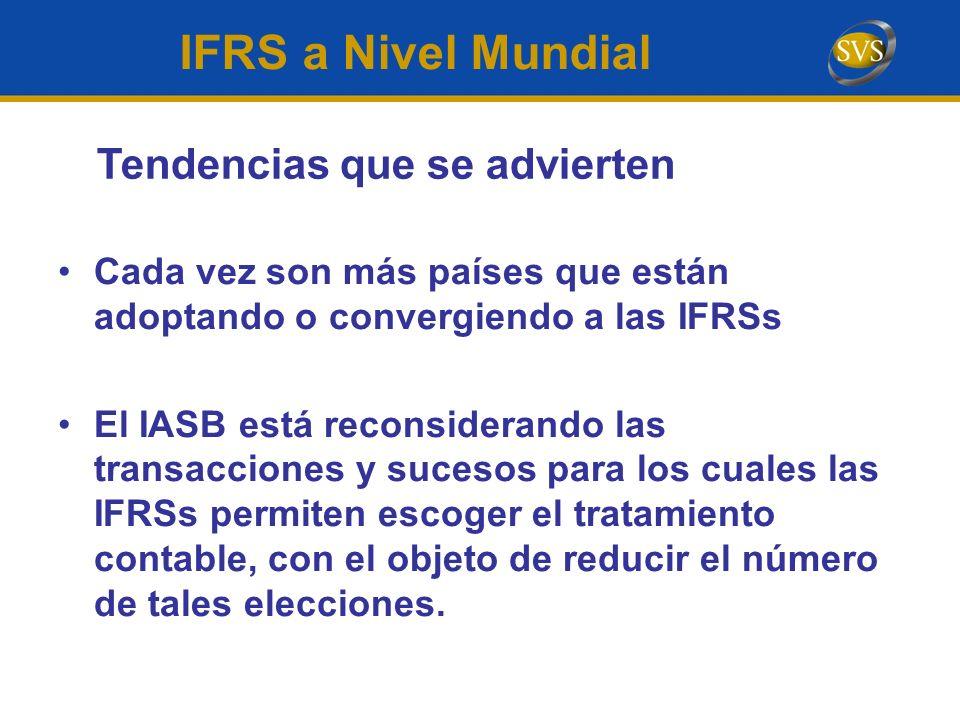 Cada vez son más países que están adoptando o convergiendo a las IFRSs El IASB está reconsiderando las transacciones y sucesos para los cuales las IFR