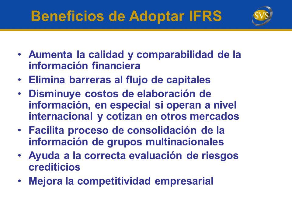Aumenta la calidad y comparabilidad de la información financiera Elimina barreras al flujo de capitales Disminuye costos de elaboración de información