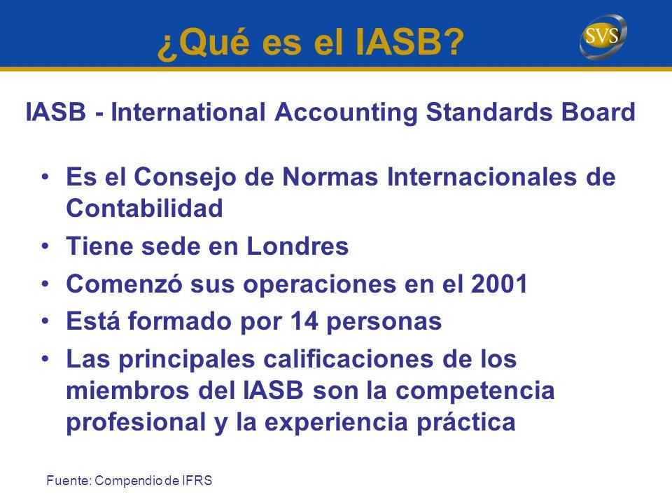 ¿Qué es el IASB? Es el Consejo de Normas Internacionales de Contabilidad Tiene sede en Londres Comenzó sus operaciones en el 2001 Está formado por 14