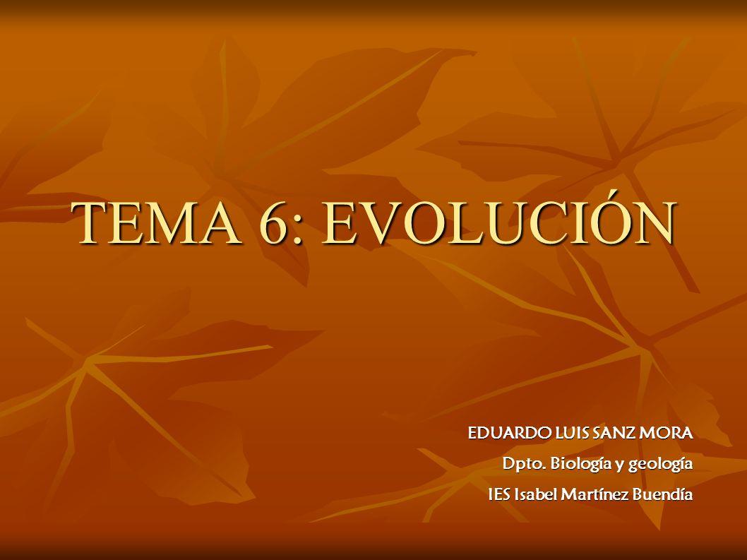 TEMA 6: EVOLUCIÓN EDUARDO LUIS SANZ MORA Dpto. Biología y geología IES Isabel Martínez Buendía