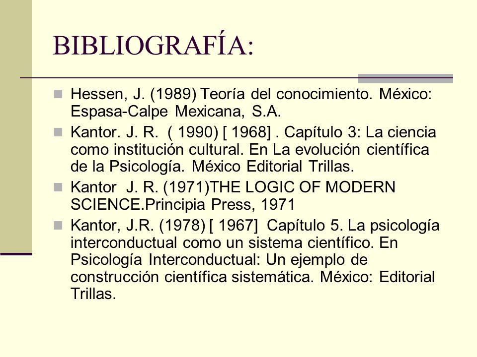 BIBLIOGRAFÍA: Hessen, J.(1989) Teoría del conocimiento.