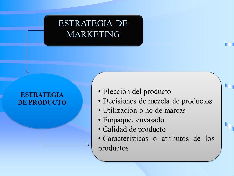 ESTRATEGIA DE MARKETING Elección del producto Decisiones de mezcla de productos Utilización o no de marcas Empaque, envasado Calidad de producto Carac