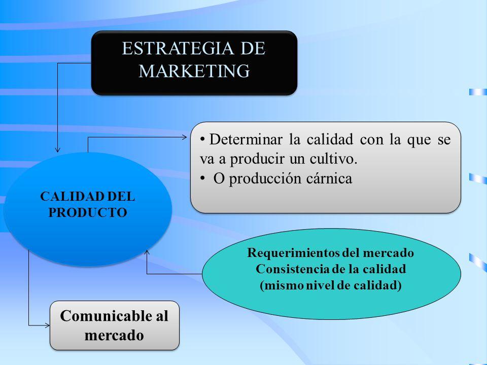 ESTRATEGIA DE MARKETING Determinar la calidad con la que se va a producir un cultivo. O producción cárnica Determinar la calidad con la que se va a pr