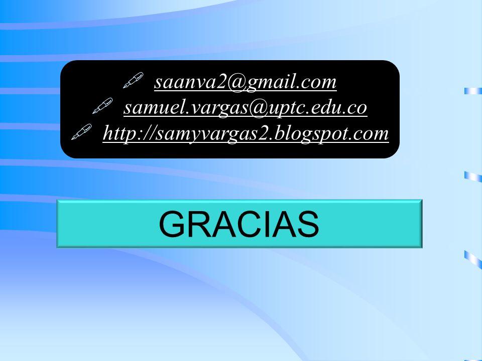 GRACIAS saanva2@gmail.com samuel.vargas@uptc.edu.co http://samyvargas2.blogspot.com