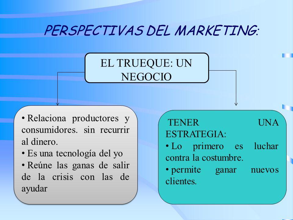 PERSPECTIVAS DEL MARKETING : EL TRUEQUE: UN NEGOCIO Relaciona productores y consumidores. sin recurrir al dinero. Es una tecnología del yo Reúne las g