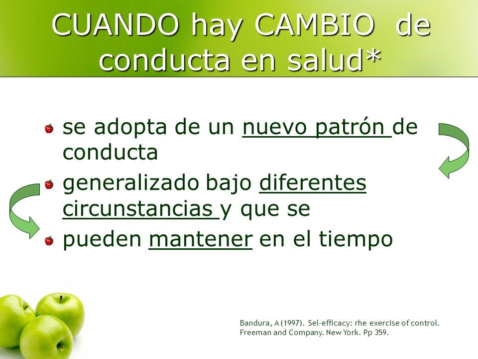 Bandura, A (1997). Sel-efficacy: rhe exercise of control. Freeman and Company. New York. Pp 359. CUANDO hay CAMBIO de conducta en salud* se adopta de
