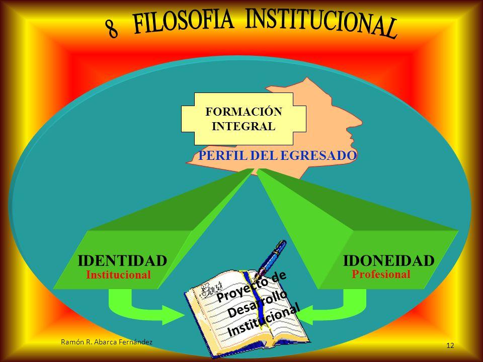 PERFIL DEL EGRESADO FORMACIÓN INTEGRAL IDONEIDADIDENTIDAD Institucional Profesional P r o y e c t o d e D e s a r r o l l o I n s t i t u c i o n a l