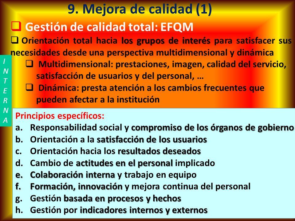 Ramón R. Abarca Fernández14 9. Mejora de calidad (1) Gestión de calidad total: EFQM Orientación total hacia l ll los grupos de interés para satisfacer
