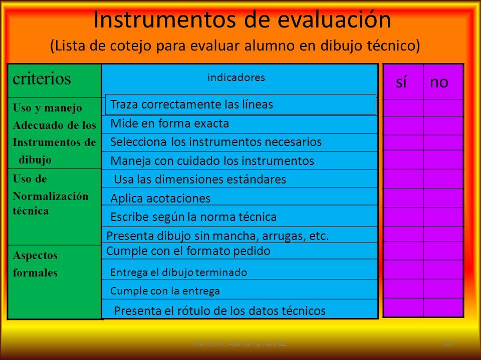 (Lista de cotejo para evaluar alumno en dibujo técnico) criterios Uso y manejo Adecuado de los Instrumentos de dibujo Uso de Normalización técnica Asp