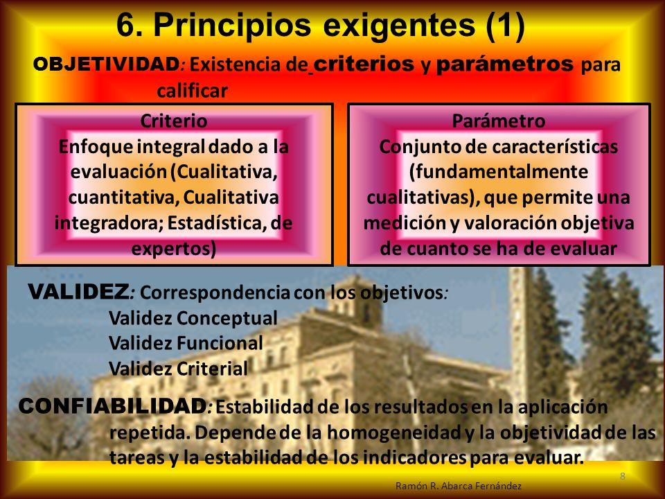 8 6. Principios exigentes (1) VALIDEZ : Correspondencia con los objetivos: Validez Conceptual Validez Funcional Validez Criterial CONFIABILIDAD : Esta