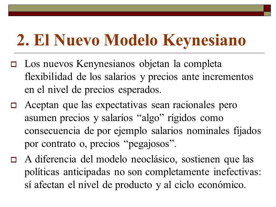 2. El Nuevo Modelo Keynesiano Los nuevos Kenynesianos objetan la completa flexibilidad de los salarios y precios ante incrementos en el nivel de preci