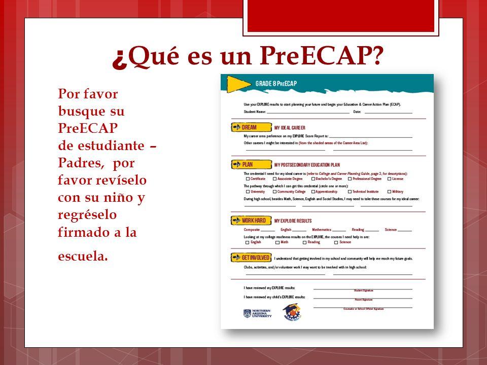 ¿ Qué es un PreECAP? Por favor busque su PreECAP de estudiante – Padres, por favor revíselo con su niño y regréselo firmado a la escuela.