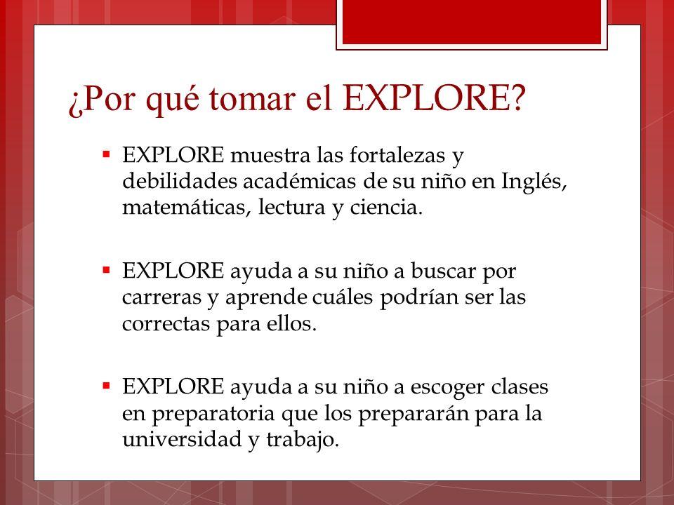 ¿Por qué tomar el EXPLORE? EXPLORE muestra las fortalezas y debilidades académicas de su niño en Inglés, matemáticas, lectura y ciencia. EXPLORE ayuda