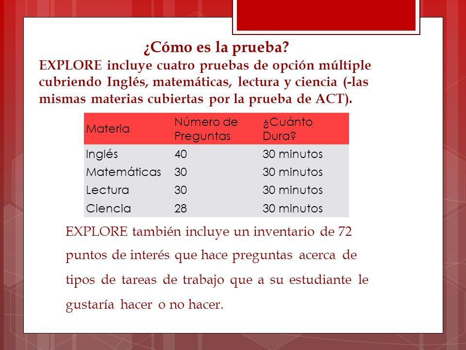 Materia Número de Preguntas ¿Cuánto Dura? Inglés4030 minutos Matemáticas3030 minutos Lectura3030 minutos Ciencia2830 minutos ¿Cómo es la prueba? EXPLO
