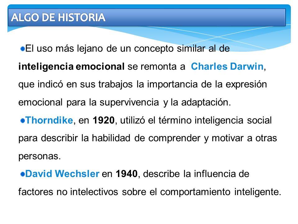 El uso más lejano de un concepto similar al de inteligencia emocional se remonta a Charles Darwin, que indicó en sus trabajos la importancia de la exp