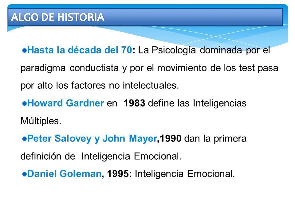 Hasta la década del 70: La Psicología dominada por el paradigma conductista y por el movimiento de los test pasa por alto los factores no intelectuale