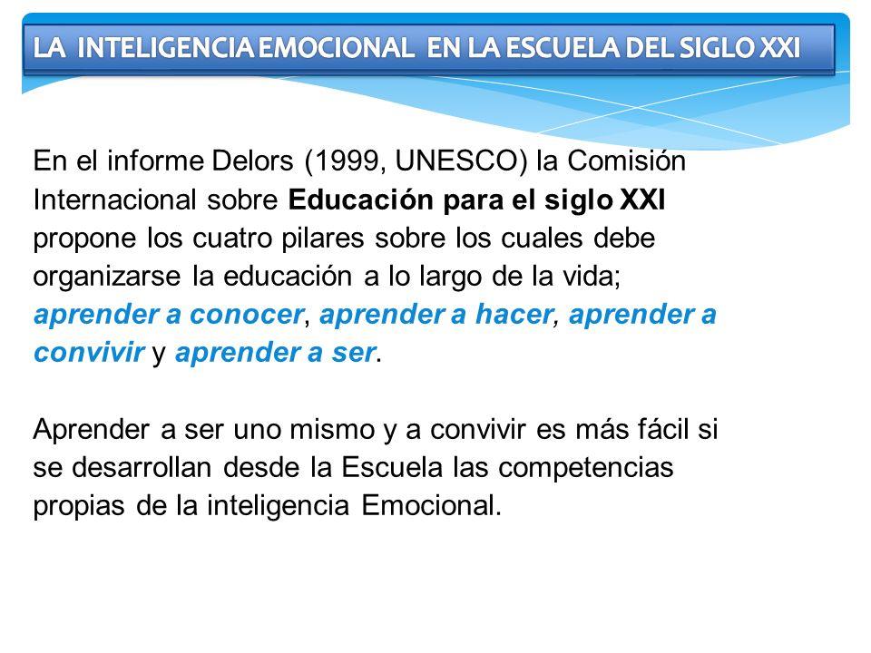 En el informe Delors (1999, UNESCO) la Comisión Internacional sobre Educación para el siglo XXI propone los cuatro pilares sobre los cuales debe organ