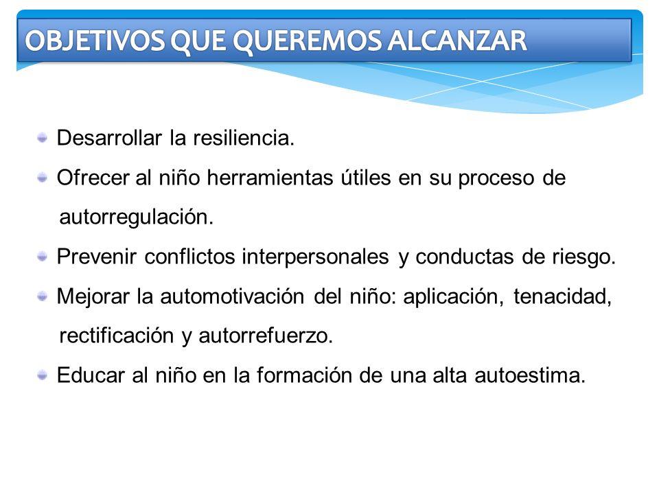 Desarrollar la resiliencia. Ofrecer al niño herramientas útiles en su proceso de autorregulación. Prevenir conflictos interpersonales y conductas de r