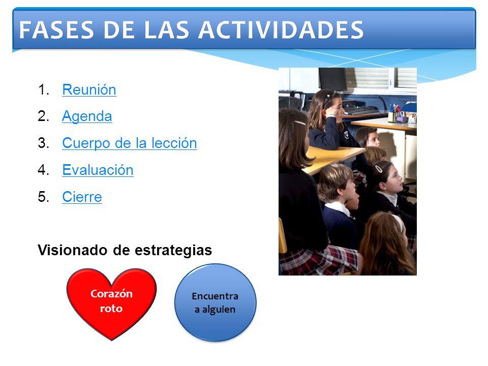 1.ReuniónReunión 2.AgendaAgenda 3.Cuerpo de la lecciónCuerpo de la lección 4.EvaluaciónEvaluación 5.CierreCierre Visionado de estrategias Encuentra a