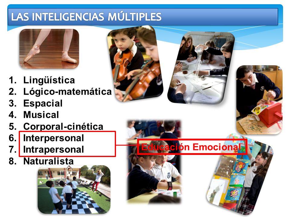 1.Lingüística 2.Lógico-matemática 3.Espacial 4.Musical 5.Corporal-cinética 6.Interpersonal 7.Intrapersonal 8.Naturalista Educación Emocional