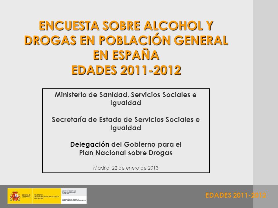 EDADES 2011-2012 ENCUESTA SOBRE ALCOHOL Y DROGAS EN POBLACIÓN GENERAL EN ESPAÑA EDADES 2011-2012 Ministerio de Sanidad, Servicios Sociales e Igualdad