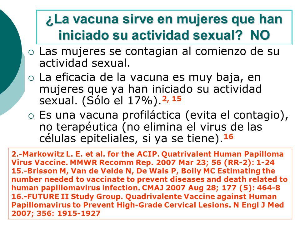 ¿La vacuna sirve en mujeres que han iniciado su actividad sexual.